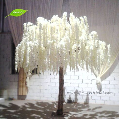 gnw 8ft artificielle blanc de mariage arbres avec wisteria fleur souhaitant arbre pour la