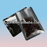 back Aluminum-Foil front clear coffee bean pouch made in China