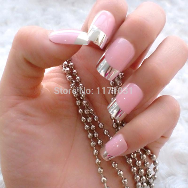 metallic french nail tips