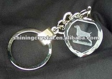 beautiful quality facted crystal keyring with laser etched Weimaraner