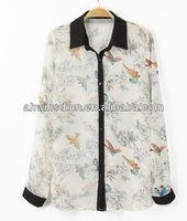 europe lapel open front woman blouse