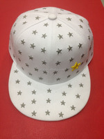 white flat cap with full star embroidery