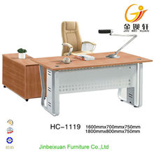 L-shape wood furniture Metal Leg Modern Executive Desk