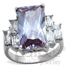 Fashion Gumdrop Gemstone Stainless Steel Wedding Statement Ring