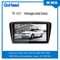For Volkswagen skoda 2015 Octavia 10.2inch Android 4.4 quad core Car Radio with 3G Wifi GPS Mirror Link