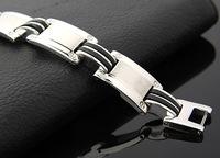 316l стальной браслет заклепки панк ретро Черный силиконовый браслет поле Ссылка Серебряный готическая Бижутерия подарок
