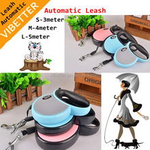 Retractable dog leash with LED flashing light & waste bag holder