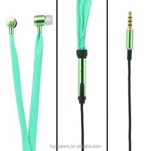 bass boost waterproof metal shoe lace headphone with microphone