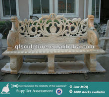 Patio pink marble stone bench