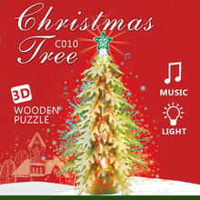 Robotime 2014 new craft 3D wooden puzzle Christmas tree singing and lighting