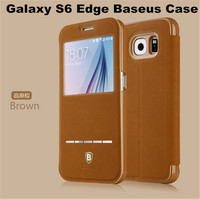Popular Brand Baseus Terse Buckskin Leather Window View Smart Flip Case for Samsung Galaxy S6 Edge 50 pcs/lot Freeshipping
