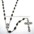 Negro flor de cuentas vinculados con rosario maria pieza central, jbh201401-33