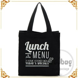 New style black cotton shopping bag with different size