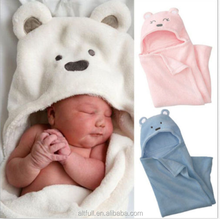 2015 china supplier Lovely Animal Cartoon Soft Hooded Beach Bath Towel Wrap Bathrobe for Baby Boys Girls