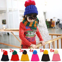 children and adult solid pom-pom knitting christmas hats with plush ball