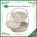 Atacado oval massa vazio branco cesta de vime com alça