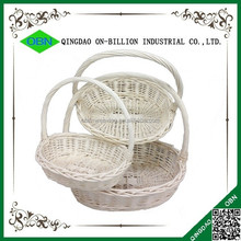 Wholesale oval bulk empty white wicker basket with handle