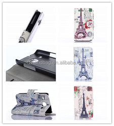 luxury pu leather flip wallet case Paris Eiffel tower leather cover case for Samsung Galaxy Core i8260 i8262
