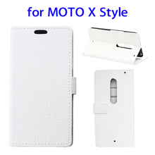 High quality Crocodile Texture leather case for Moto X Style mobile phone case