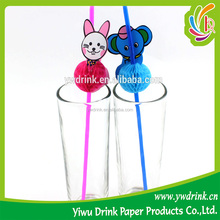 Four Animals Rabbit Elephant Lion Dog Deciration Plastic Drink Straw