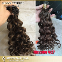 i tip curly hair extensions mix color 4/27 Peruvian remy 1g stick tip hair extensions