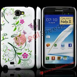 Bling Glitter Morning Glory Diamond Inlaid Hard PC Cases For Samsung Galaxy Note II N7100