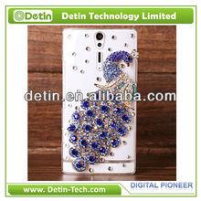 Trendy bling purple Peacock Rhinestone cell phone cases for Sony S LT26i