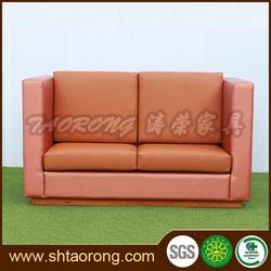 Custom made modern 2 seat coffee shop leather sofa for sale