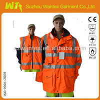 Four season multifuctinal Class 3 High Visibility Safety Waterproof Workwear Jacket