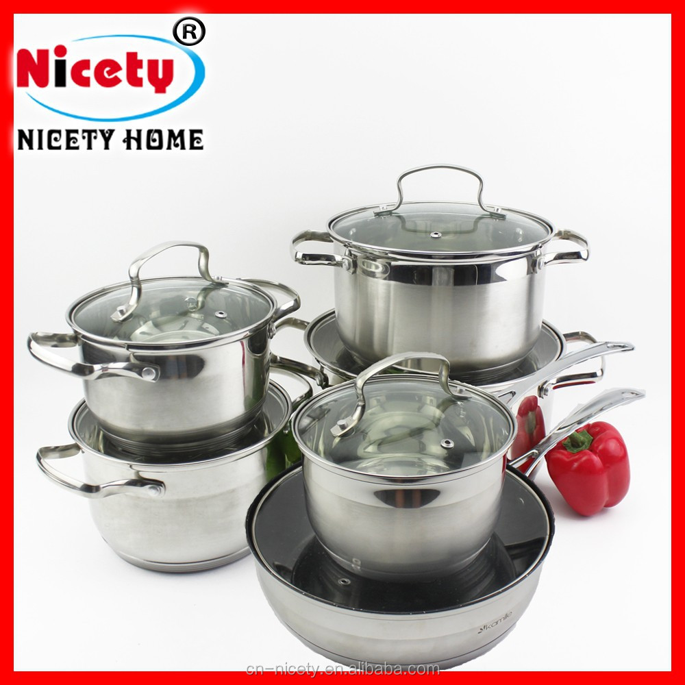 12pcs stainless steel kitchen queen cookware set with for Kitchen queen set