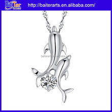Fashion animal pendant necklace 925 sterling silver two dolphin pendant