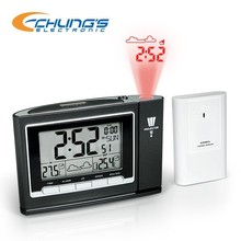 Laser alarm projection clock with RC clock and thermometer
