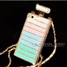 New Arrival Bling Crystal Perfume Bottle Phone Case for iPhone 6,for iPhone 6 Case Cear Chain Bag
