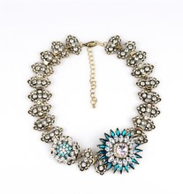 Fashion flowers full drill lady exaggerated Necklace,jewlery necklace wholesale