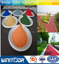 Iron oxide red and green and black for color bituminous pavement