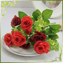 home decor wedding decor wholesale 7 head rose bush artificial silk flowers