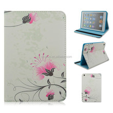 Dew Pink Floral Flip Turn Stand TPU+PU Leather Tablet Cover Case For iPad mini 1/2/3 With Elastic Belt