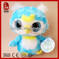 Big eyes series animals soft cute blue birds plush kid toys owl