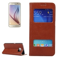 Hot Selling Dual Window Flip Stand Genuine Leather Case for Samsung Galaxy S6 Cover