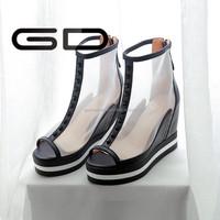 sexy transparent net upper wedge heel summer fashion design sandals