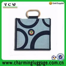 Stripes pattern bamboo holder gunny bag jute shopping bag