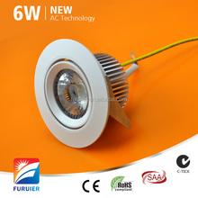 led down light 6W AC driverless Samsung COB aluminum alloy led down light