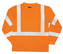 brand t-shirt red quality fabric reflective safety t-shirt for worker wicking t-shirt
