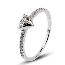 Hot Sale Fashion Unique Fox Rhodium Plated 925 Sterling Silver Rings
