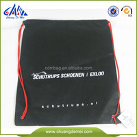 black reusable drawstring pp non woven shoes bag