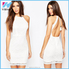 Summer Style New fashion Women Sexy vestidos Halter white female Open Back Lace With Tassel Casual Cocktail Party Bodycon Dress