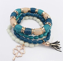 2015 hot selling Bohemia beads charm bangles with Four Leaf Clover