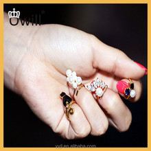 High Quality Women Knuckle Ring jewelry 4pcs/set Crystal Black Cat Created Pearls Zircon Nail Rings