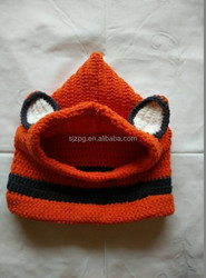 Thick yarn orange fox crochet baby hats & scarf together