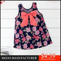 MGOO New Arrival Little Dress For Children Floral Print Cotton Sleeveless Straight Girl Dress 9085